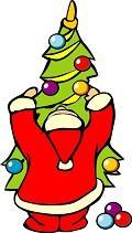 Postais de Pai Natal a decorar a árvore